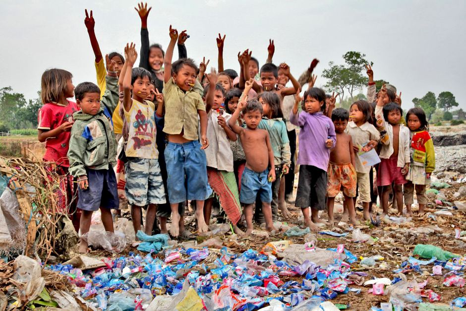group of kids at a Cambodian rubbish dump
