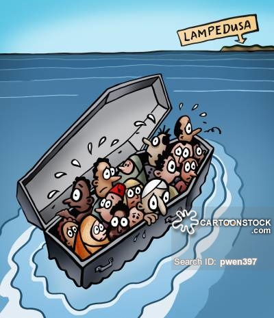 Coffin refugees to Lampedusa
